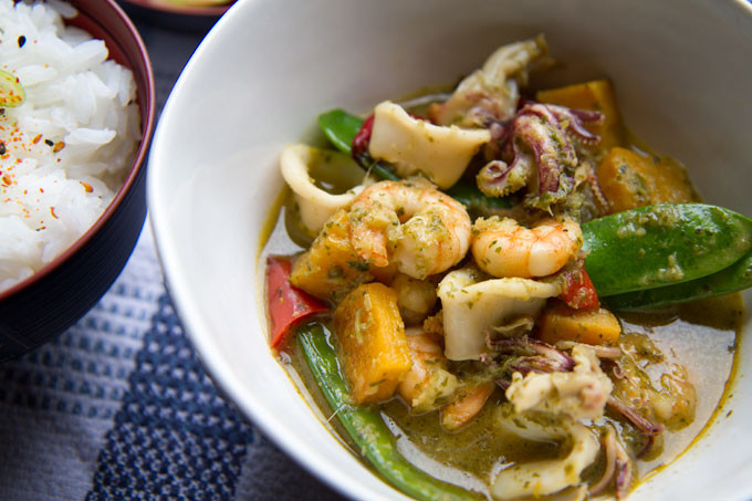 Green Thai Curry with Prawn, Squid and Butternut Squash