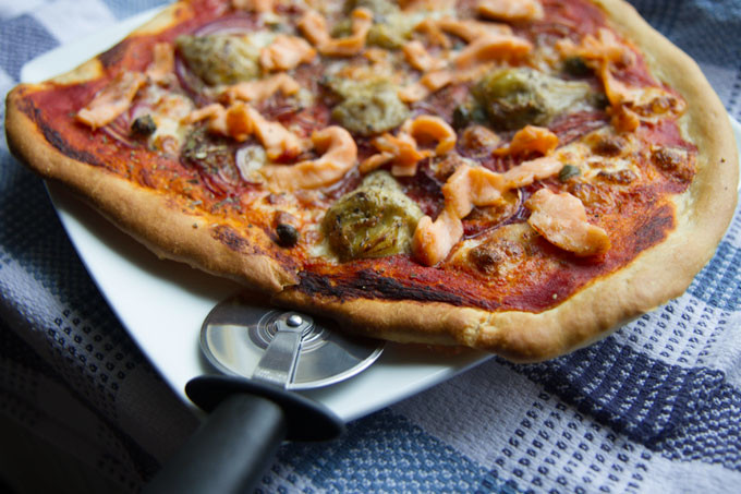 Smoked Salmon, Artichoke, and Red Onion Pizza