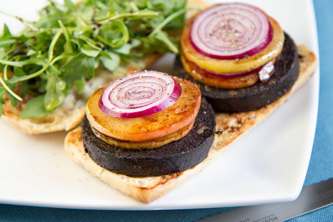Black pudding, sautéed apple, red onion and rocket ciabatta