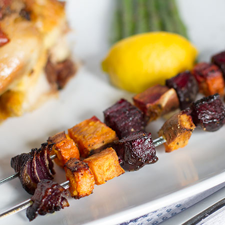 Roasted root vegetable skewers