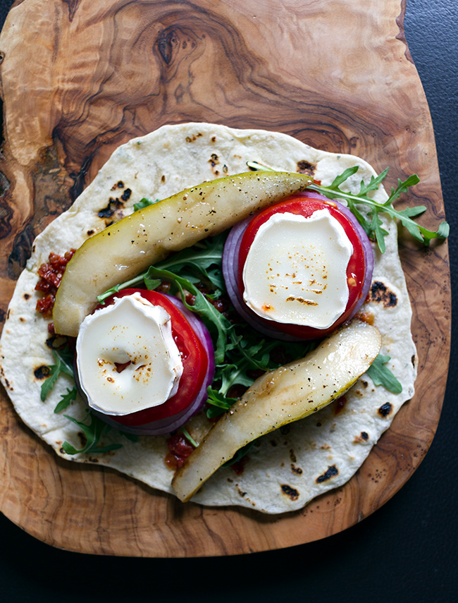 Italian Oregano Flatbread with Goats Cheese and Pear