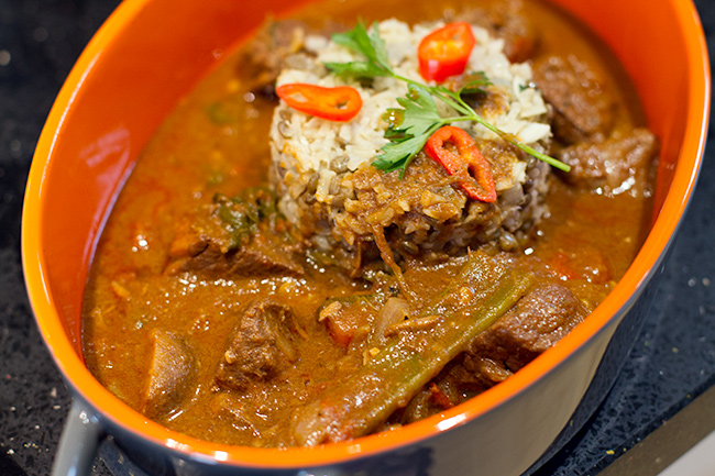 Halal Beef Goulash served with rice and puy lentils