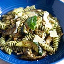 Fusilli pasta with pesto and griddled Mediterranean vegetables