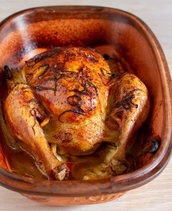 Roast Chicken, ready to carve and eat.