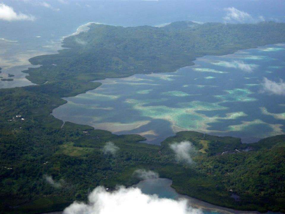 Flying over Chuuk, Micronesia