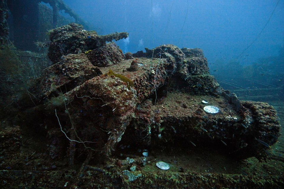 Light tanks on the deck of the San Francisco Maru at a depth of about 46m
