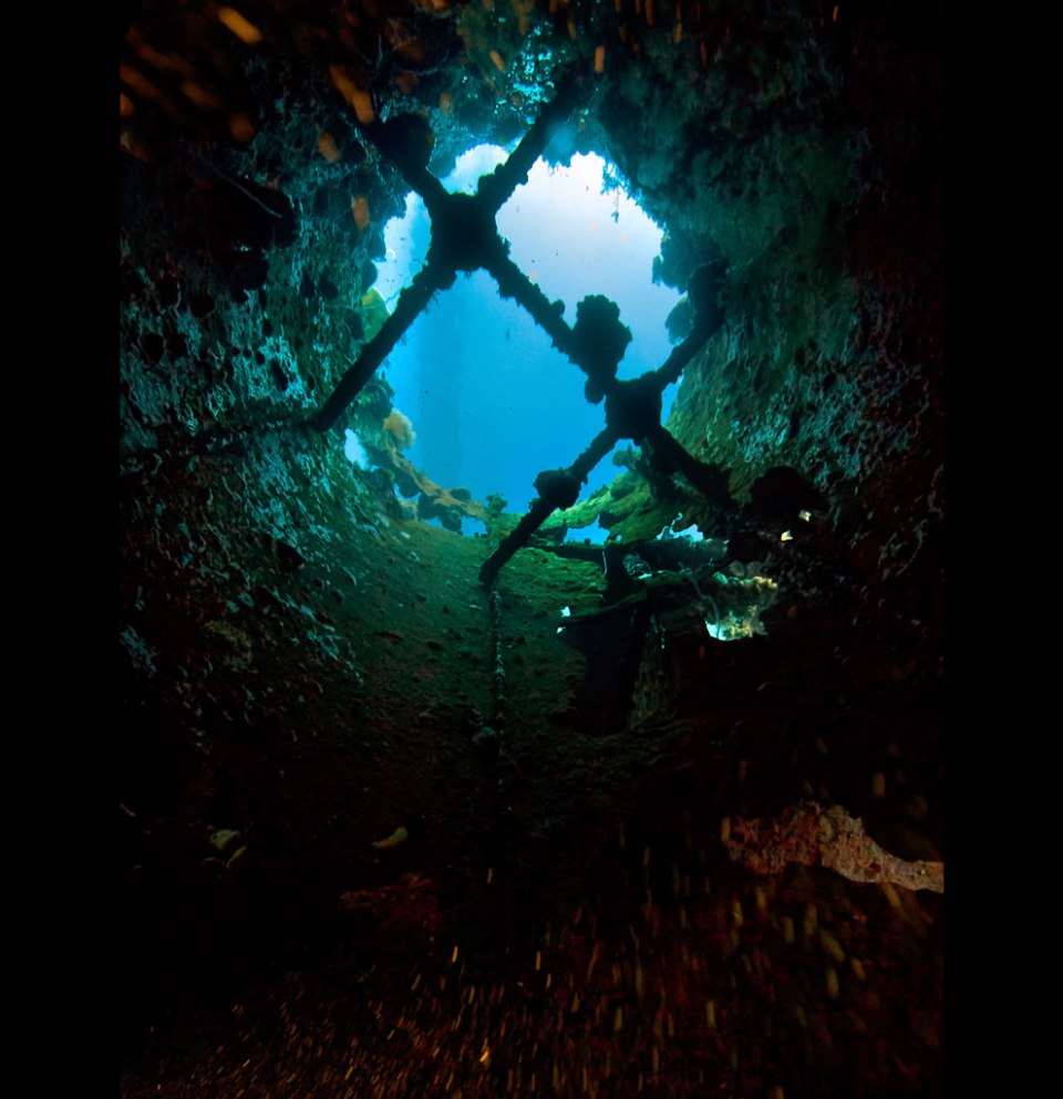 heaven peeps through the blanket of the dark - Swimming up the funnel of the Unkai Maru