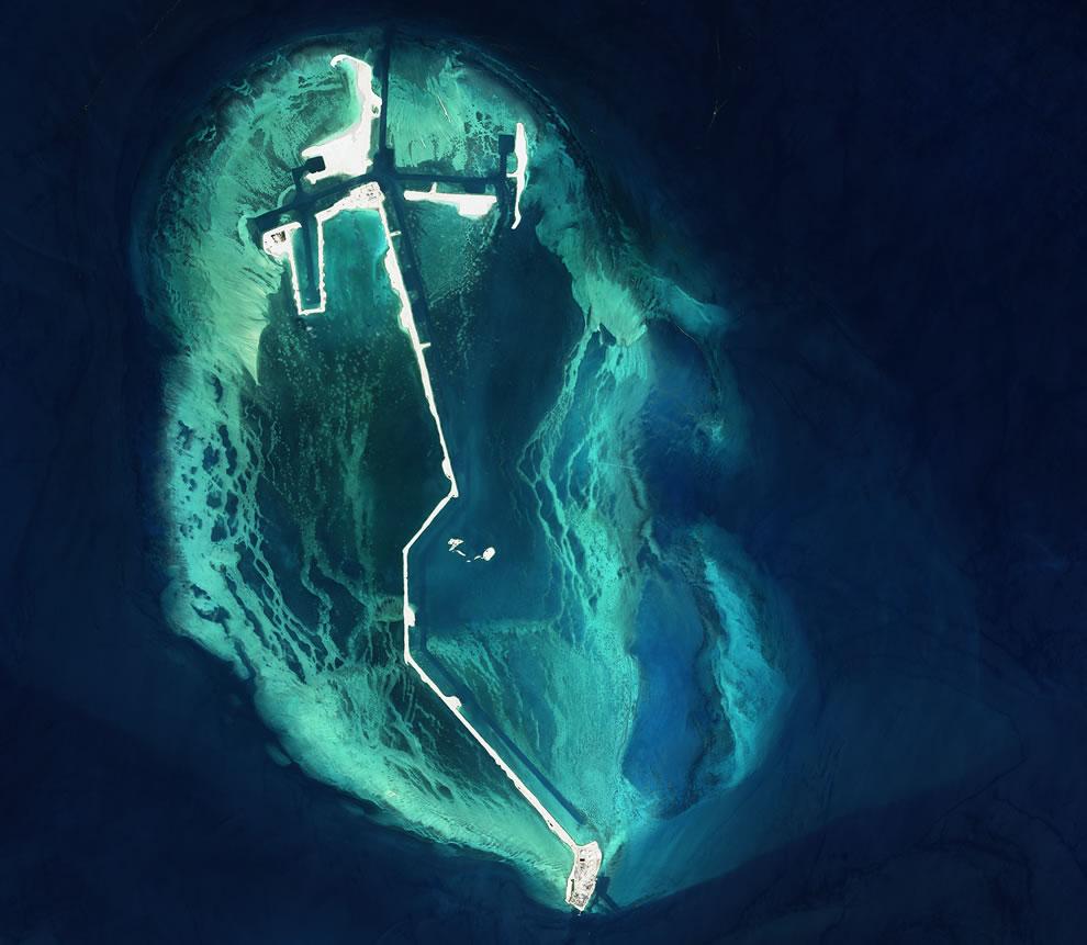 Man-made island in the Persian Gulf