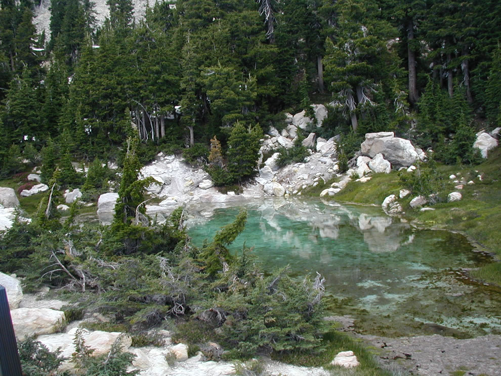 One of the hydrothermal areas Lassen Volcanic National Park, in California. Cool water pool with algae near Bumpass Hell