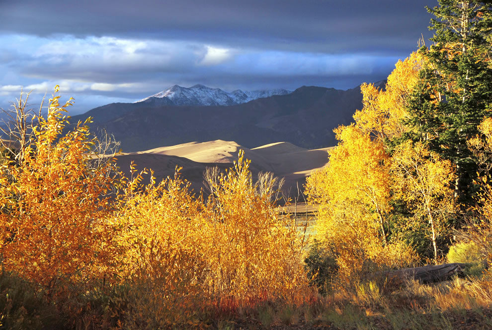 Tijeras Peak in background of Great Sand Dunes National Park and Preserve