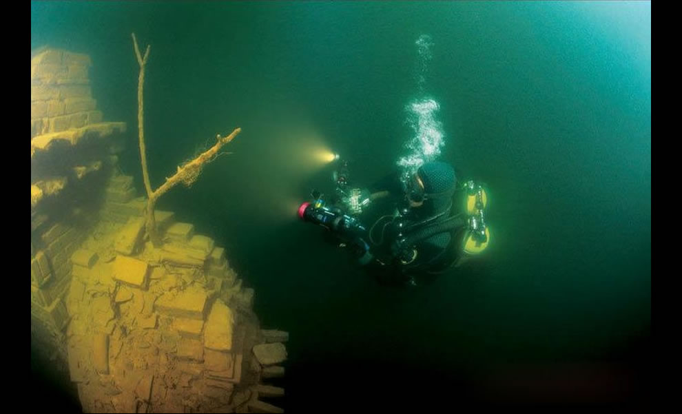 International archeologists said the submerged Lion City was an underwater 'time capsule'