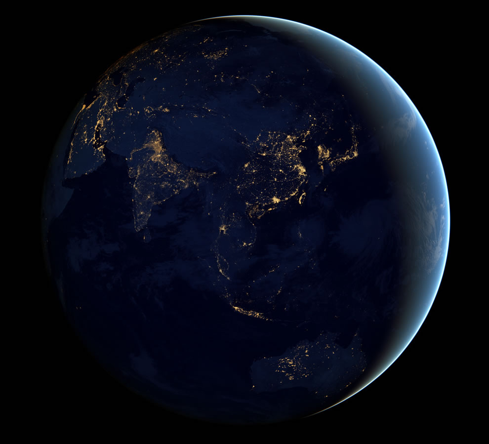 Black Marble 2012 - night lights of Asia and Australia