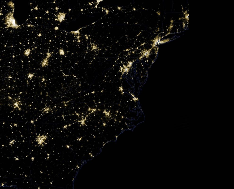 USA East Coast lights on Friday, June 29th, 2012
