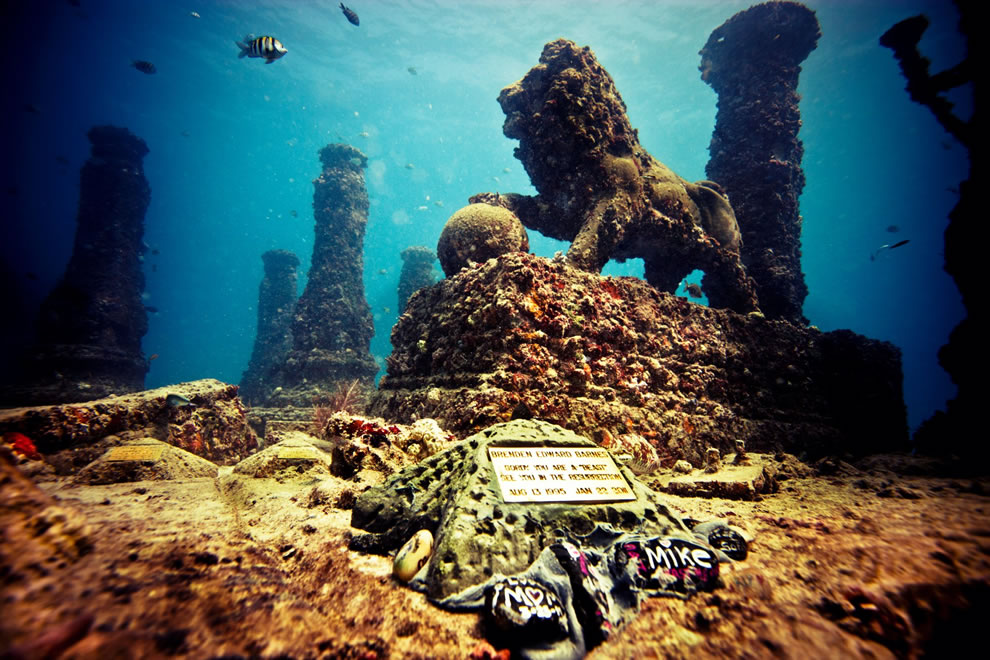 Neptune Memorial Reef off Key Biscayne in Miami, Florida, memorial for cremated remains