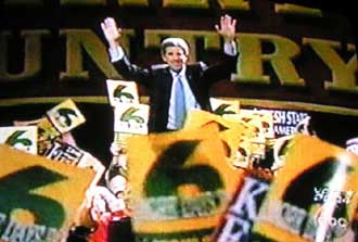 John Kerry campaigning in October of 2004.  Notice the numbers 666!  Was this just a coincidence or more of the illuminati's symbolic language which we see so prevalent throughout society?