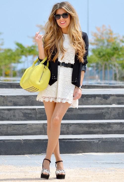 White Lace Mini Dress With Black Belt Blazer Amp Platform