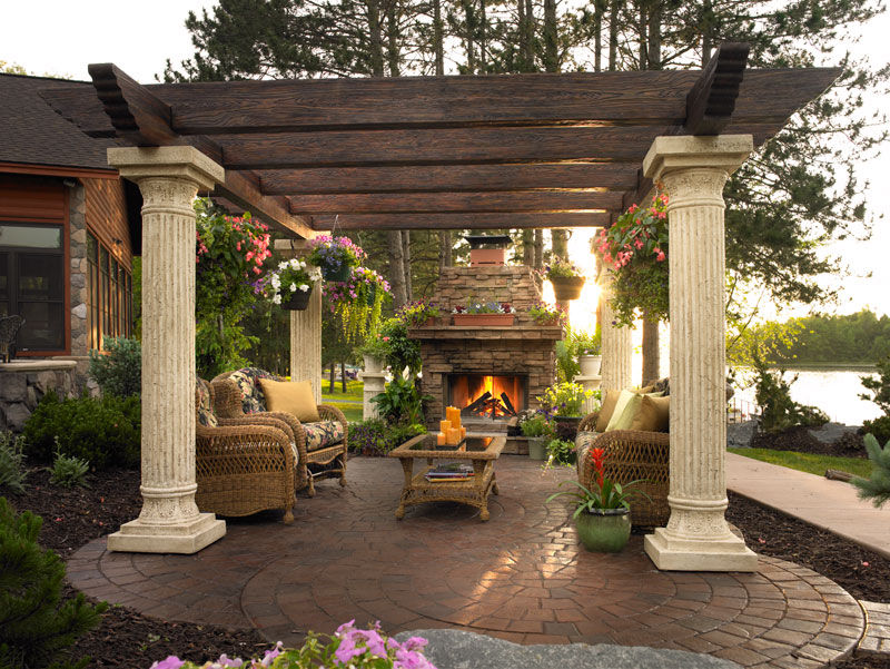 Gorgeous Patio With Pergola Amp Fireplace Pictures Photos