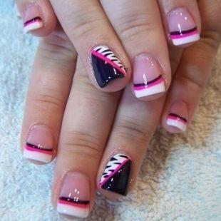 Cute Black White Hot Pink Nail Design