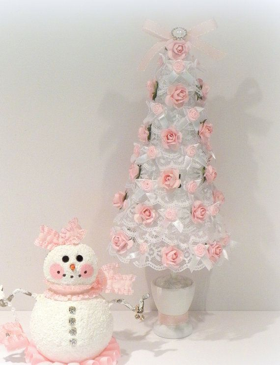 White Lace Mini Tree With Pink Roses Amp Pink Snowman