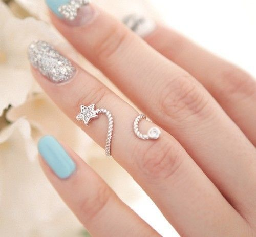 Pretty Turquoise And Silver Nail Art Ring