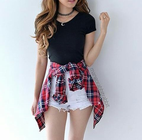 Black Shirt With White Shorts And Plaid Shirt Pictures