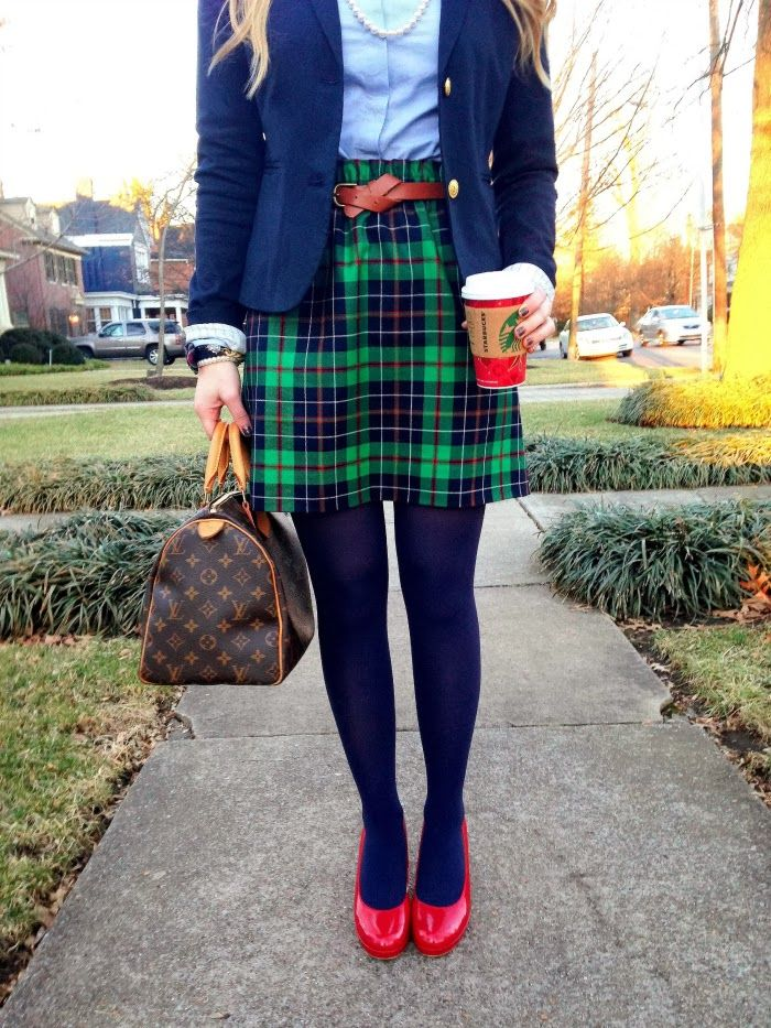 Blair Waldorf In Plaid Colored Tights And Bright Red