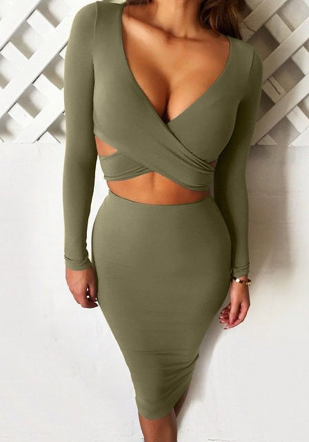 Olive Green Bodycon Skirt Set Pictures Photos And Images