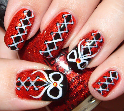 Black And Red Corset Nail Art