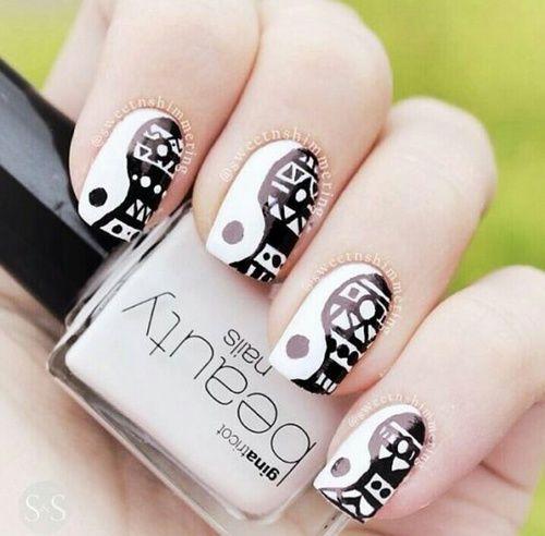 Yin Yang Tribal Nails
