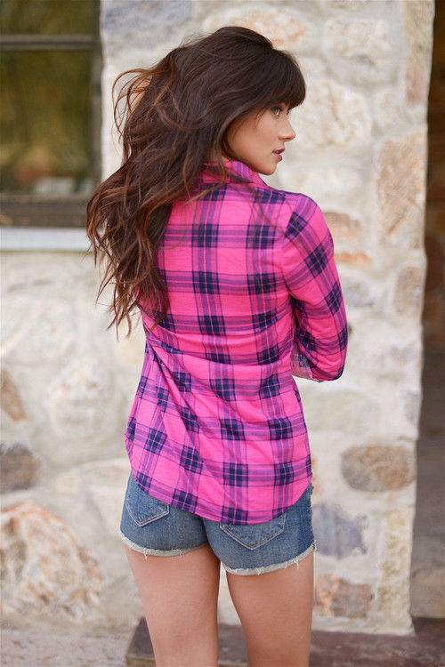 Pink Plaid Shirt With Denim Shorts Pictures Photos And