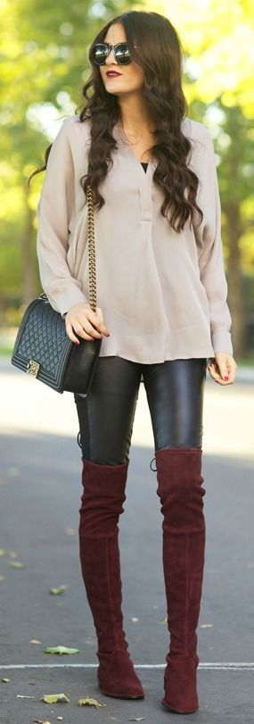 Brown Over The Knee Boots With Leather Pants Pictures