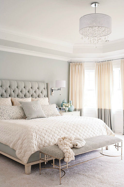 Grey, White And Tan Casual Bedroom Decor Pictures, Photos ...