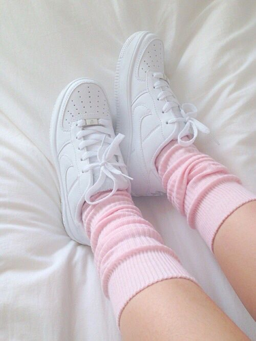 White Air Force Ones With Pink Socks Pictures Photos And