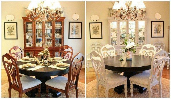 Dining Room Set Before And After Using Annie Sloan Chalk