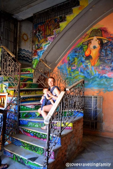 Colorful staircase, Love travelling family in Havana Vieja