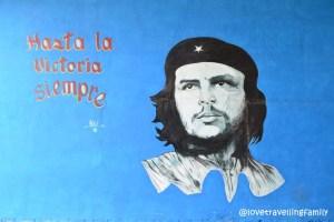 Che mural at the bus station in Santa Clara, Cuba