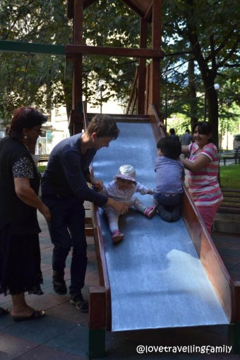 The only dad on a playground in Tbilisi, Love travelling family
