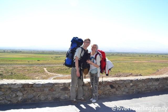Love travelling family @ Monastery Khor Virap, Armenia