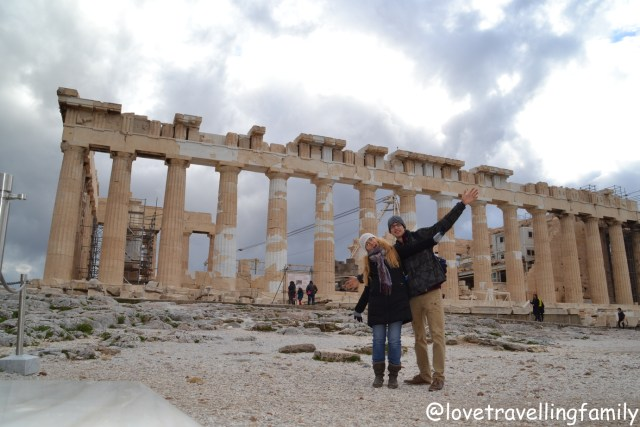 Love travelling family at Acropolis, Athens, Greece