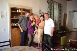 Love travelling family with the loving hosts at Guest House Svan-Ski, Mestia, Svanetia, Georgia