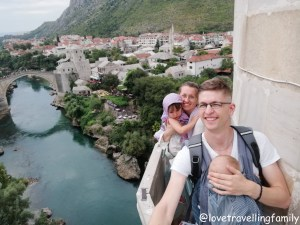 View from the minaret Koski Mehmed-Pasha Mosque, Mostar, Love travelling family