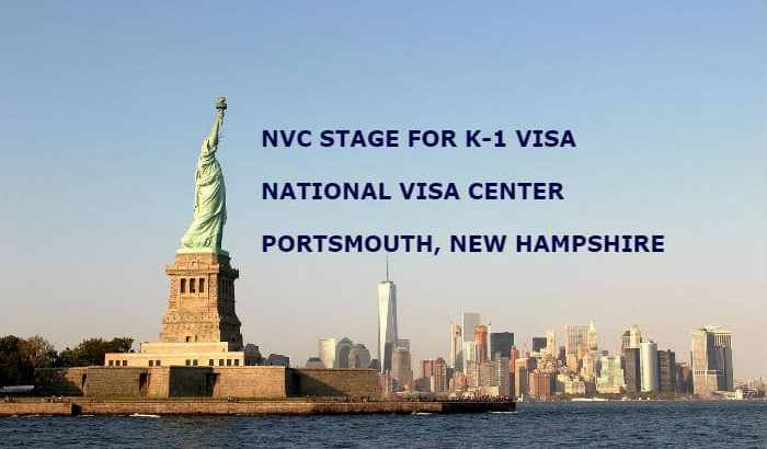 Statue of Liberty with New York City in the background and the Title K-1 Fiance(e) Visa NVC Phase