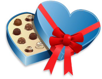 Valentines gift of a box of chocolates with a red ribbon
