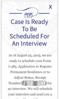 AOS Status Update Case Is Ready For Interview