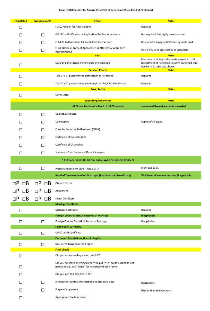 Form I130 Checklist Dolapgnetband