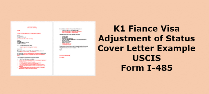 K1 Adjustment of Status Cover Letter Example USCIS Form I-485