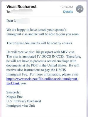 MIV Visa email from embassy