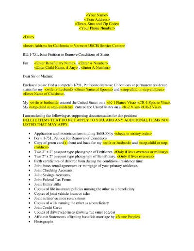 About USCIS I 751 Removal Of Conditions Cover Letter Example