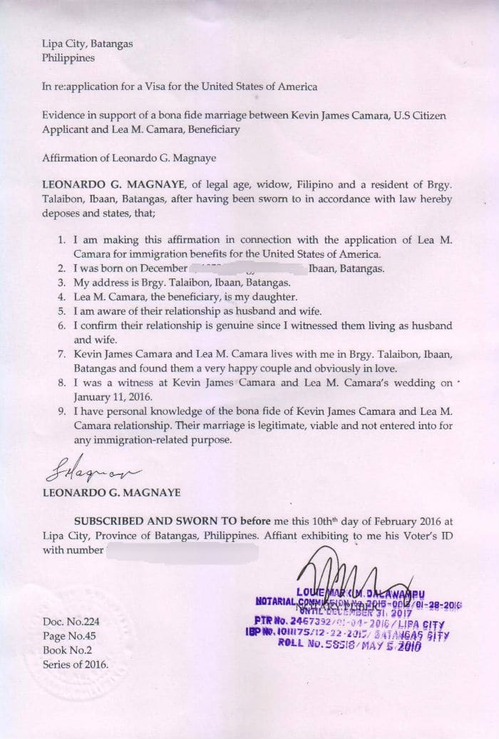 affidavits of marriage and relationship