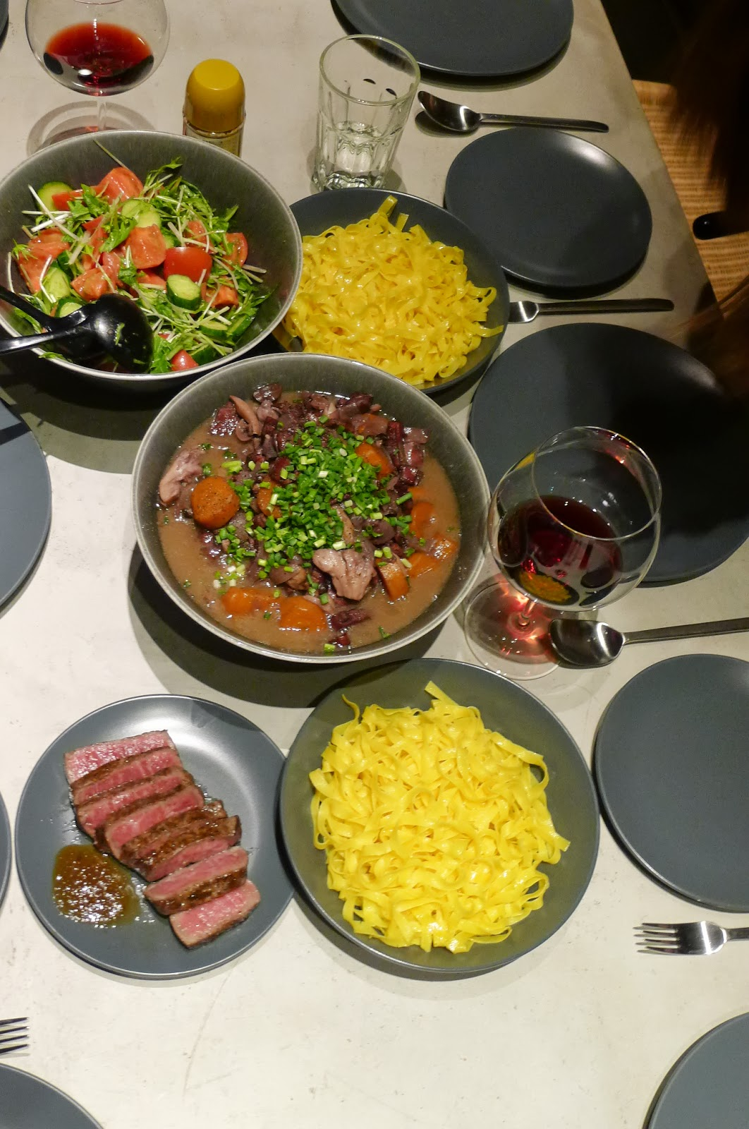 Beef, beef, beef - Beef bourguignon, Japanese steak, with pasta, and homemade salad.